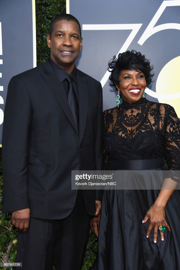 75th ANNUAL GOLDEN GLOBE AWARDS -- Pictured: Actors Denzel Washington (L) and Pauletta Washington arrive to the 75th Annual Golden Globe Awards held at the Beverly Hilton Hotel on January 7, 2018.
