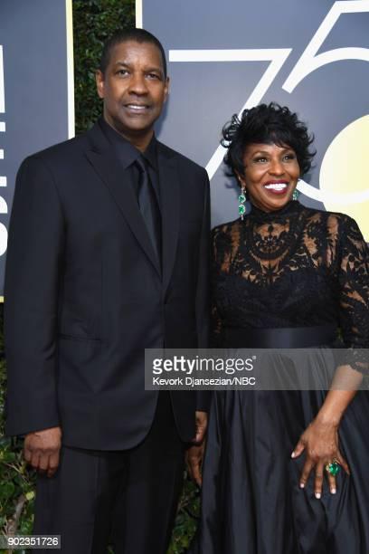 75th ANNUAL GOLDEN GLOBE AWARDS Pictured Actors Denzel Washington and Pauletta Washington arrive to the 75th Annual Golden Globe Awards held at the...