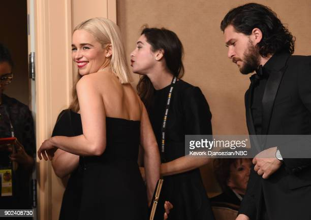75th ANNUAL GOLDEN GLOBE AWARDS Pictured Actors Emilia Clarke and Kit Harington pose in the press room at the 75th Annual Golden Globe Awards held at...