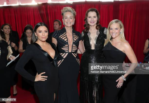 75th ANNUAL GOLDEN GLOBE AWARDS Pictured Actors Eva Longoria Sharon Stone Geena Davis and Reese Witherspoon arrive to the 75th Annual Golden Globe...