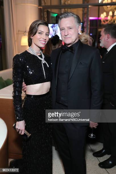 75th ANNUAL GOLDEN GLOBE AWARDS Pictured Actors Jessica Biel and Bill Pullman enjoy NBC and USA Network's postGolden Globe Awards party Sunday...