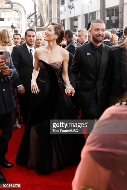 75th ANNUAL GOLDEN GLOBE AWARDS Pictured Actors Jessica Biel and Justin Timberlake arrive to the 75th Annual Golden Globe Awards held at the Beverly...