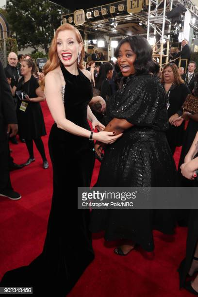 75th ANNUAL GOLDEN GLOBE AWARDS Pictured Actors Jessica Chastain and Octavia Spencer arrive to the 75th Annual Golden Globe Awards held at the...
