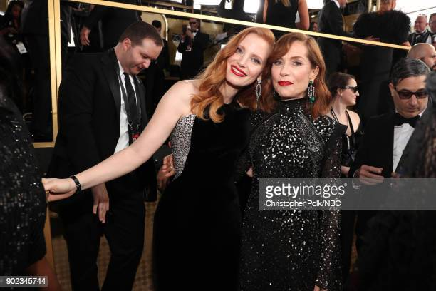 75th ANNUAL GOLDEN GLOBE AWARDS Pictured Actors Jessica Chastain and Isabelle Huppert arrive to the 75th Annual Golden Globe Awards held at the...