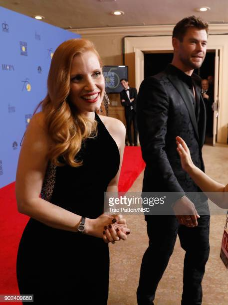 75th ANNUAL GOLDEN GLOBE AWARDS Pictured Actors Jessica Chastain and Chris Hemsworth in the press room at the 75th Annual Golden Globe Awards held at...