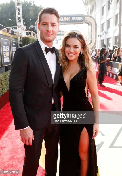 75th ANNUAL GOLDEN GLOBE AWARDS Pictured Actors Justin Hartley and Chrishell Stause arrive to the 75th Annual Golden Globe Awards held at the Beverly...