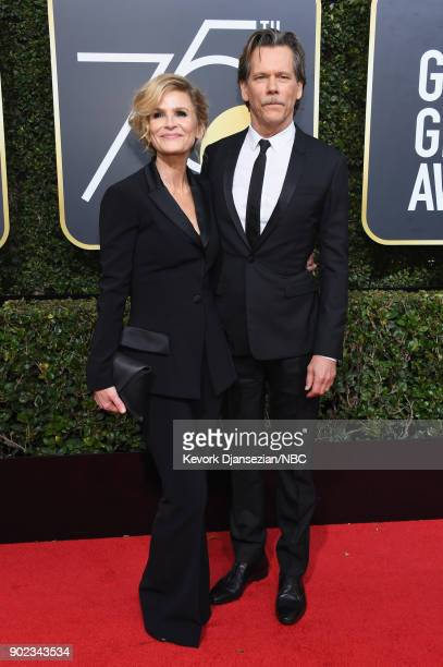75th ANNUAL GOLDEN GLOBE AWARDS Pictured Actors Kyra Sedgwick and Kevin Bacon arrive to the 75th Annual Golden Globe Awards held at the Beverly...