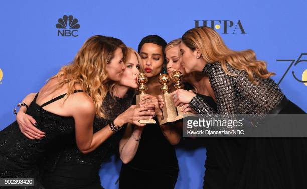 75th ANNUAL GOLDEN GLOBE AWARDS Pictured Actors Laura Dern Nicole Kidman Zoë Kravitz Reese Witherspoon and Shailene Woodley pose with the Best...