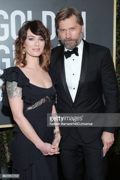 75th ANNUAL GOLDEN GLOBE AWARDS Pictured Actors Lena Headey and Nukaaka CosterWaldau arrive to the 75th Annual Golden Globe Awards held at the...