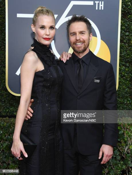 75th ANNUAL GOLDEN GLOBE AWARDS Pictured Actors Leslie Bibb and Sam Rockwell arrive to the 75th Annual Golden Globe Awards held at the Beverly Hilton...