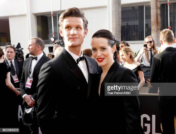 75th ANNUAL GOLDEN GLOBE AWARDS Pictured Actors Matt Smith and Claire Foy arrive to the 75th Annual Golden Globe Awards held at the Beverly Hilton...