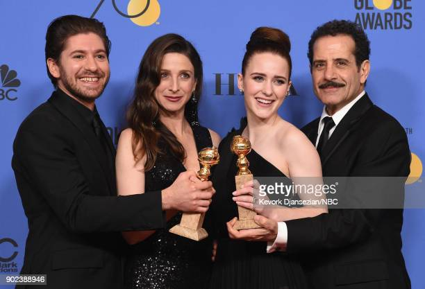 75th ANNUAL GOLDEN GLOBE AWARDS Pictured Actors Michael Zegen Marin Hinkle Rachel Brosnahan and Tony Shalhoub pose with the Best Television Series...