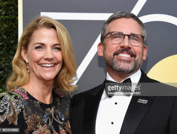 75th ANNUAL GOLDEN GLOBE AWARDS Pictured Actors Nancy Carell and Steve Carell arrive to the 75th Annual Golden Globe Awards held at the Beverly...