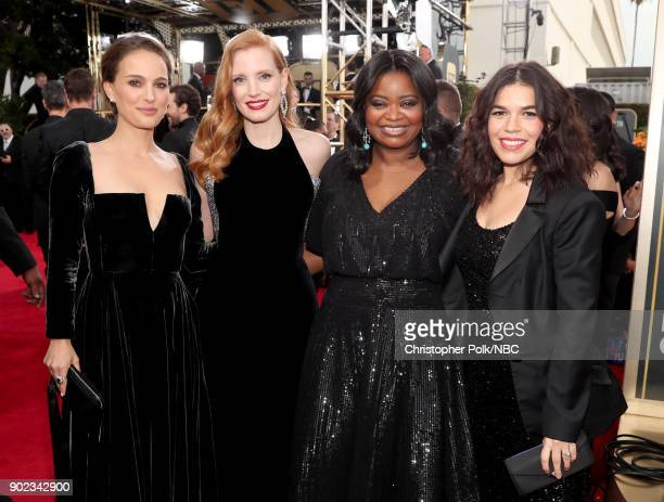 75th ANNUAL GOLDEN GLOBE AWARDS Pictured Actors Natalie Portman Jessica Chastain Octavia Spencer and America Ferrera arrive to the 75th Annual Golden...