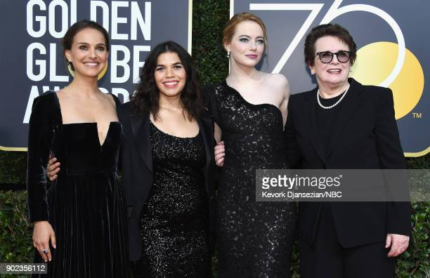 75th ANNUAL GOLDEN GLOBE AWARDS Pictured Actors Natalie Portman America Ferrera Emma Stone and former tennis player Billie Jean King arrive to the...