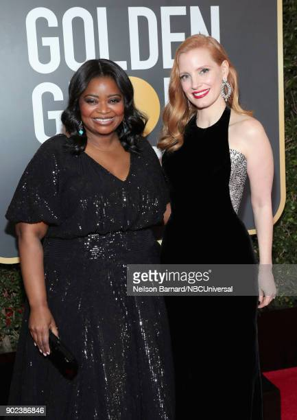 75th ANNUAL GOLDEN GLOBE AWARDS Pictured Actors Octavia Spencer and Jessica Chastain arrive to the 75th Annual Golden Globe Awards held at the...
