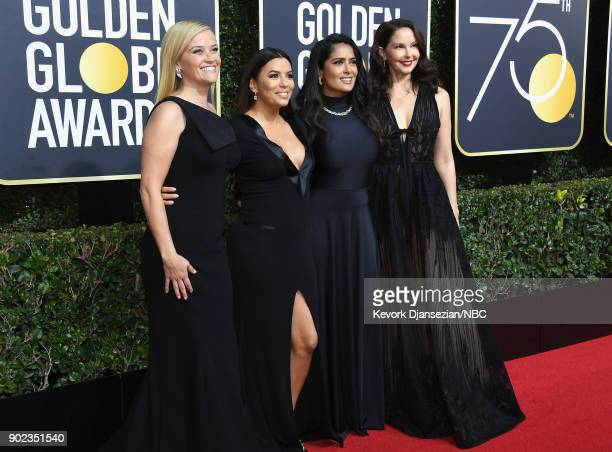 75th ANNUAL GOLDEN GLOBE AWARDS Pictured Actors Reese Witherspoon Eva Longoria Salma Hayek and Ashley Judd arrive to the 75th Annual Golden Globe...