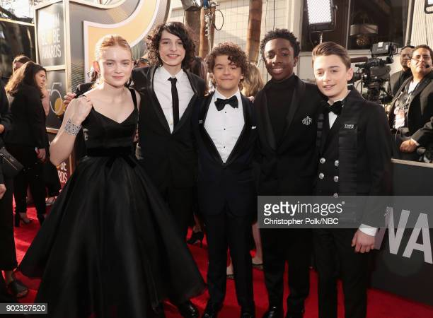75th ANNUAL GOLDEN GLOBE AWARDS Pictured Actors Sadie Sink Finn Wolfhard Gaten Matarazzo Caleb McLaughlin and Noah Schnapp arrive to the 75th Annual...