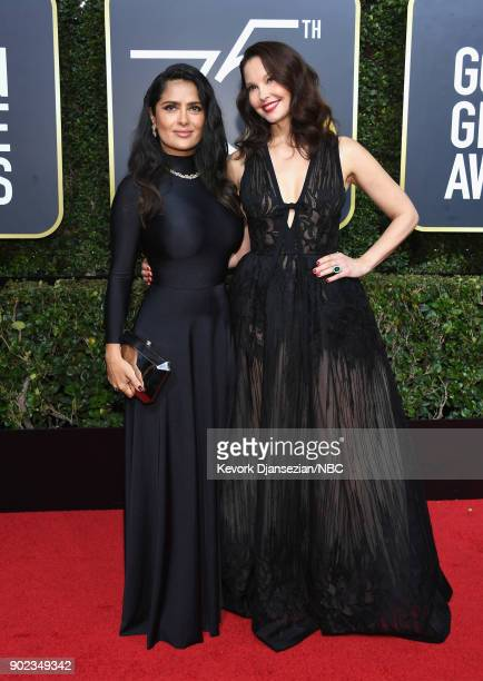 75th ANNUAL GOLDEN GLOBE AWARDS Pictured Actors Salma Hayek and Ashley Judd arrive to the 75th Annual Golden Globe Awards held at the Beverly Hilton...