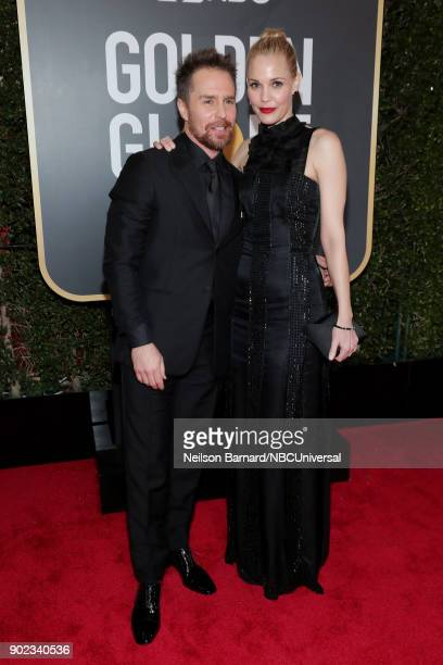75th ANNUAL GOLDEN GLOBE AWARDS Pictured Actors Sam Rockwell and Leslie Bibb arrive to the 75th Annual Golden Globe Awards held at the Beverly Hilton...