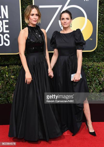75th ANNUAL GOLDEN GLOBE AWARDS Pictured Actors Sarah Paulson and Amanda Peet arrive to the 75th Annual Golden Globe Awards held at the Beverly...