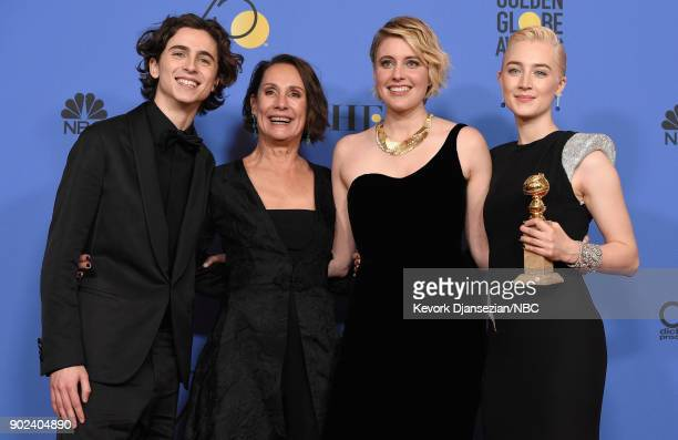 75th ANNUAL GOLDEN GLOBE AWARDS Pictured Actors Timothee Chalamet Laurie Metcalf director Greta Gerwig and actor Saoirse Ronan pose with the Best...