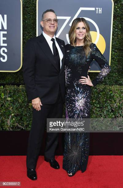 75th ANNUAL GOLDEN GLOBE AWARDS Pictured Actors Tom Hanks and Rita Wilson arrive to the 75th Annual Golden Globe Awards held at the Beverly Hilton...