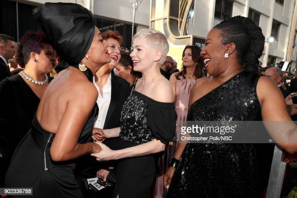 75th ANNUAL GOLDEN GLOBE AWARDS Pictured Actors Tracee Ellis Ross Susan Sarandon and Michelle Williams and activist Tarana Burke arrive to the 75th...