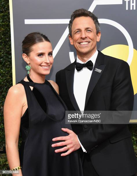 75th ANNUAL GOLDEN GLOBE AWARDS Pictured Alexi Ashe and comedian Seth Meyers arrive to the 75th Annual Golden Globe Awards held at the Beverly Hilton...