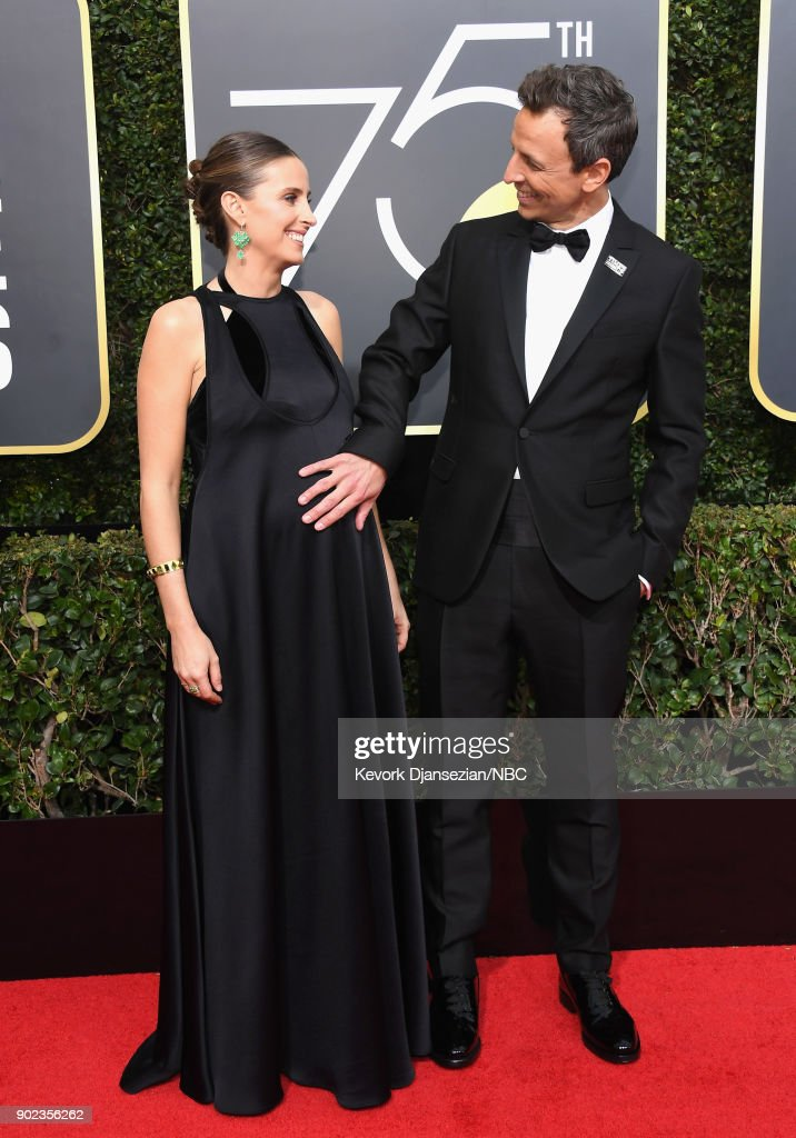 75th ANNUAL GOLDEN GLOBE AWARDS -- Pictured: Alexi Ashe (L) and host Seth Meyers arrive to the 75th Annual Golden Globe Awards held at the Beverly Hilton Hotel on January 7, 2018.
