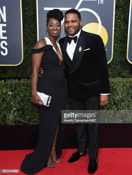 75th ANNUAL GOLDEN GLOBE AWARDS Pictured Alvina Stewart and actor Anthony Anderson arrive to the 75th Annual Golden Globe Awards held at the Beverly...