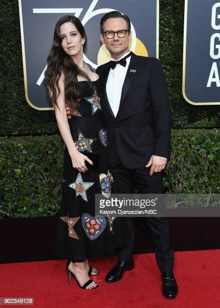 75th ANNUAL GOLDEN GLOBE AWARDS -- Pictured: Brittany Lopez and actor Christian Slater arrive to the 75th Annual Golden Globe Awards held at the...