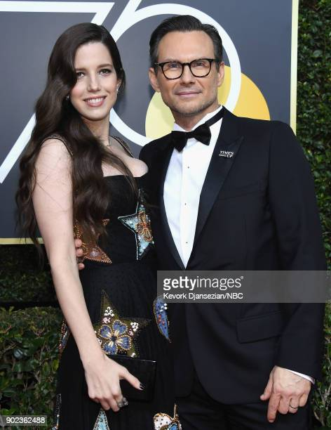 75th ANNUAL GOLDEN GLOBE AWARDS Pictured Brittany Lopez and actor Christian Slater arrive to the 75th Annual Golden Globe Awards held at the Beverly...