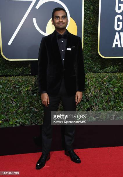 75th ANNUAL GOLDEN GLOBE AWARDS Pictured Comedian Aziz Ansari arrives to the 75th Annual Golden Globe Awards held at the Beverly Hilton Hotel on...