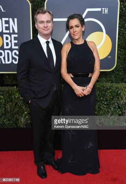 75th ANNUAL GOLDEN GLOBE AWARDS Pictured Director Christopher Nolan and producer Emma Thomas arrive to the 75th Annual Golden Globe Awards held at...