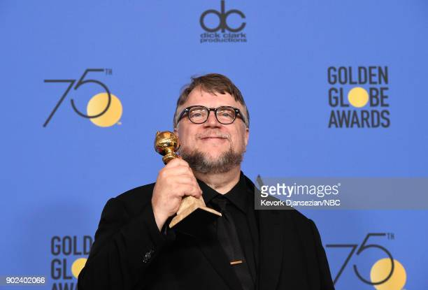 75th ANNUAL GOLDEN GLOBE AWARDS Pictured Director Guillermo del Toro poses with the Best Director Motion Picture award for 'The Shape of Water' in...