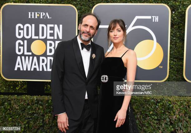 75th ANNUAL GOLDEN GLOBE AWARDS Pictured Director Luca Guadagnino and actor Dakota Johnson arrive to the 75th Annual Golden Globe Awards held at the...