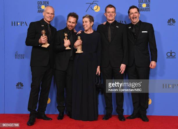 75th ANNUAL GOLDEN GLOBE AWARDS Pictured Director Martin McDonagh actors Sam Rockwell Frances McDormand producers Graham Broadbent and Peter Czernin...
