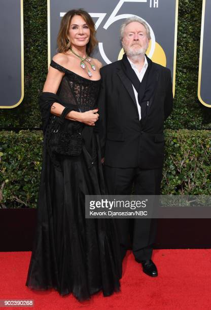 75th ANNUAL GOLDEN GLOBE AWARDS Pictured Director Ridley Scott and Giannina Facio arrive to the 75th Annual Golden Globe Awards held at the Beverly...