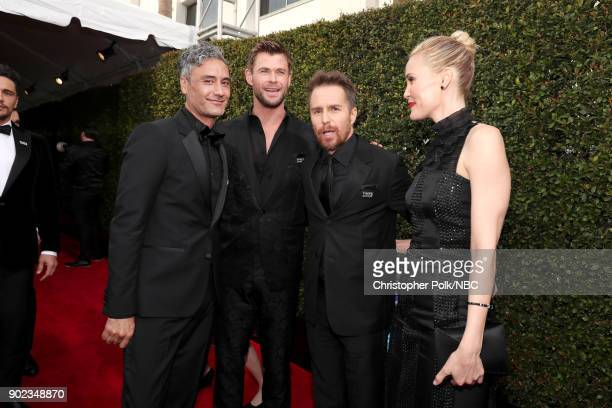75th ANNUAL GOLDEN GLOBE AWARDS Pictured Director Taika Waititi and actors Chris Hemsworth Sam Rockwell and Leslie Bibb arrive to the 75th Annual...