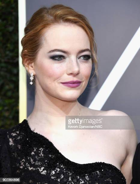 75th ANNUAL GOLDEN GLOBE AWARDS Pictured Emma Stone arrives to the 75th Annual Golden Globe Awards held at the Beverly Hilton Hotel on January 7 2018