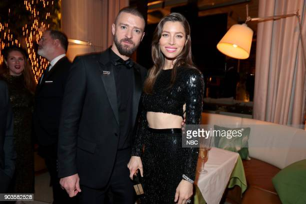 75th ANNUAL GOLDEN GLOBE AWARDS Pictured Justin Timberlake Jessica Biel The Sinner at NBC and USA Network's PostGolden Globe Awards Party held at...