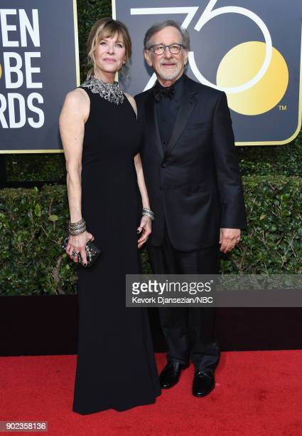 75th ANNUAL GOLDEN GLOBE AWARDS Pictured Kate Capshaw and director Steven Spielberg arrive to the 75th Annual Golden Globe Awards held at the Beverly...