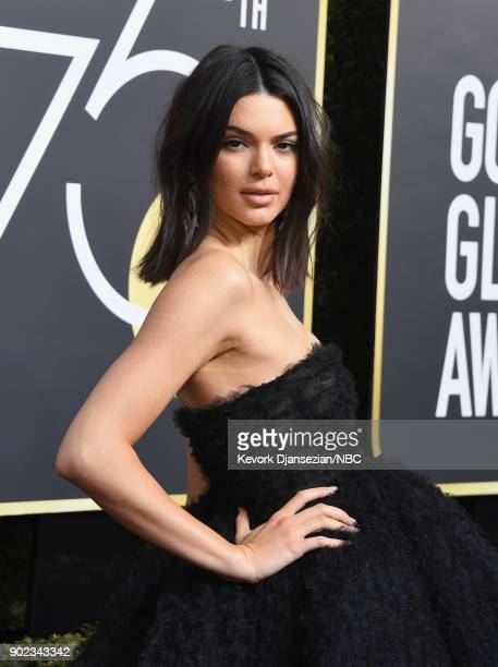 75th ANNUAL GOLDEN GLOBE AWARDS Pictured Kendall Jenner arrive to the 75th Annual Golden Globe Awards held at the Beverly Hilton Hotel on January 7...