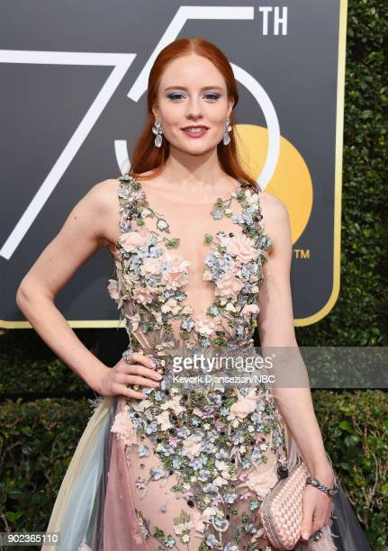 75th ANNUAL GOLDEN GLOBE AWARDS Pictured Model Barbara Meier arrives to the 75th Annual Golden Globe Awards held at the Beverly Hilton Hotel on...