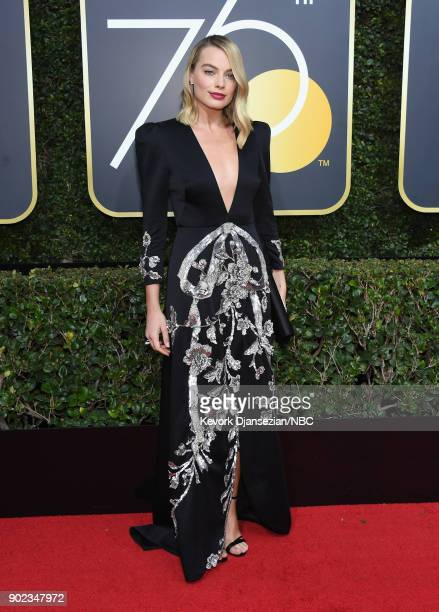 75th ANNUAL GOLDEN GLOBE AWARDS -- Pictured: Model Margot Robbie arrives to the 75th Annual Golden Globe Awards held at the Beverly Hilton Hotel on...