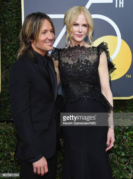 75th ANNUAL GOLDEN GLOBE AWARDS Pictured Musician Keith Urban and Nicole Kidman arrive to the 75th Annual Golden Globe Awards held at the Beverly...