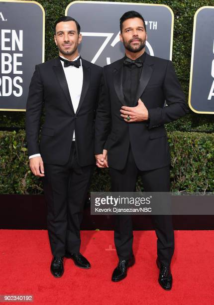 75th ANNUAL GOLDEN GLOBE AWARDS Pictured Painter Jwan Yosef and singer Ricky Martin arrive to the 75th Annual Golden Globe Awards held at the Beverly...