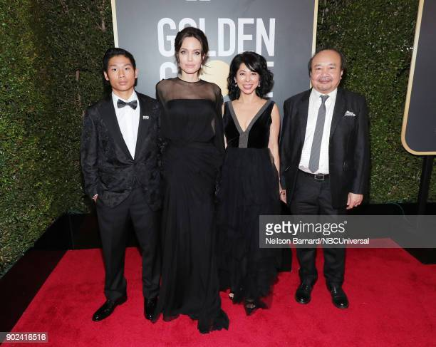 75th ANNUAL GOLDEN GLOBE AWARDS Pictured Pax Thien JoliePitt actor/director Angelina Jolie activist Loung Ung and filmmaker Rithy Panh arrive to the...