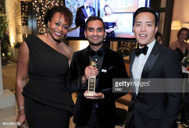 "75th ANNUAL GOLDEN GLOBE AWARDS -- Pictured: Pearlena Igbokwe, President, Universal Television; Aziz Ansari, Alan Yang, ""Master of None"" at NBC and..."